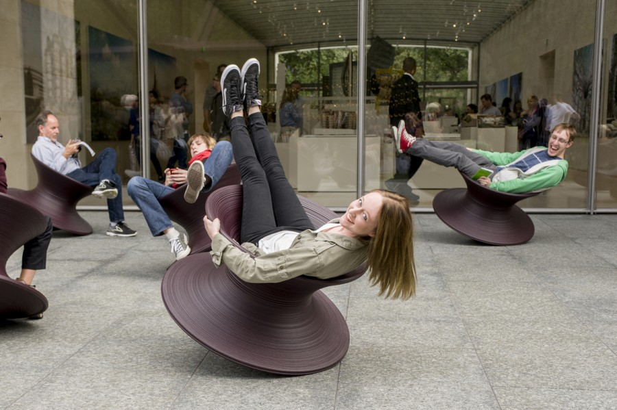 Megan Radke in a Spun Chair, Heatherwick Studio. Photo: Evan Chavez